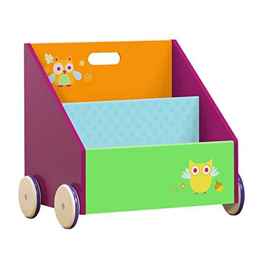 Kinder-Bücherregal mit Gummirädern