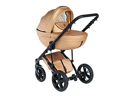 Kinderwagen 2 in 1 für Neugeborene - High Landscape Cabrio Wendewagen für Säuglinge und Kleinkinder - Klappbarer Kinderwagen aus Aluminiumlegierung mit verstellbarer Rückenlehne - Goldene Rose