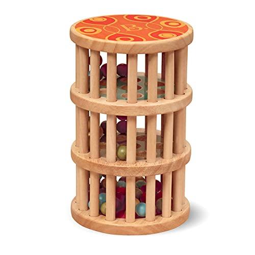 B. toys by Battat BX1170Z B. toys Baby Spielzeug Regenmacher mit Holzperlen – Holzspielzeug, Motorikspielzeug, Babyspielzeug mit Geräuschen für Kinder ab 18 Monaten (PVC frei)