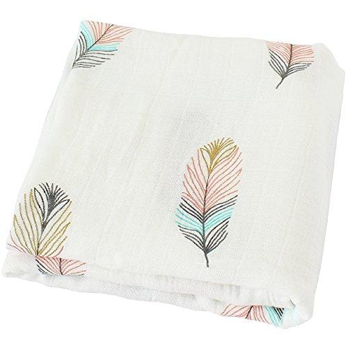 LifeTree Baby Musselin Swaddle Decke Tücher - 120x120 cm Löwenzahn Design Baby Bambus Baumwolle Pucktücher für Junge und Mädchen