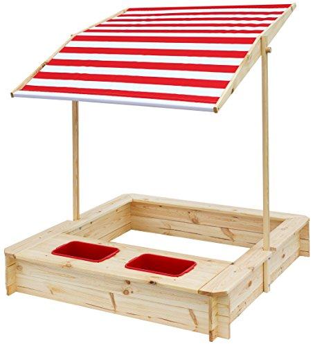 beluga Spielwaren 50380 -Sandkasten mit Wasser-Matsch-Bereich und Rot/weißem Dach, natur / rot
