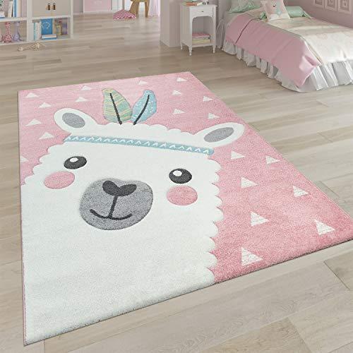 Paco Home Kinderteppich Rosa Kinderzimmer 3-D Design Alpaka Motiv Pastellfarben Robust, Grösse:120x170 cm