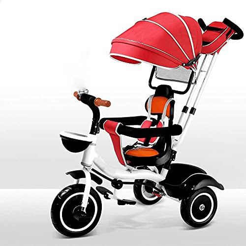 YQDSY Dreirad Trike Baby Dreirad - 4-In-1 Kinder Dreirad Jungen Mädchen Spielzeug Steer Kinderwagen Mit Lernfahrrad Kinder Wanderer Fahrrad Dreirad Fit Für Kinder Von 9-60 Monaten K
