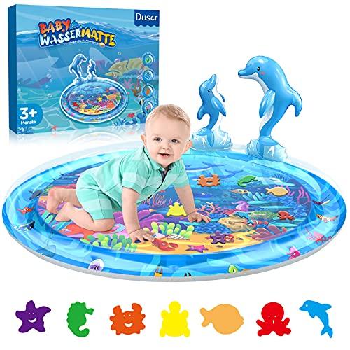 Dusor Wassermatte Baby Spielzeug 3 6 9 Monate, Wasserspielmatte Baby BPA-frei, Babyspielzeug Bauchzeit Matte, Aufblasbares Wassermatte fördert das Wachstum des Babys, Delfin Kinderspielzeug(100*100Cm)