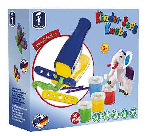Feuchtmann Spielwaren 6280543 - Kinder Soft Knete Set Knetpresse mit Zubehör, Knete, Ausstechförmchen und Modellierwerkzeugen
