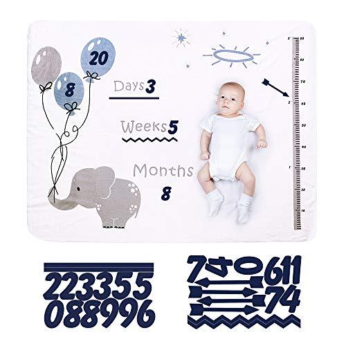 Babydecke Monatsdecke Meilenstein Fotohintergrund Flanell Decke Baby Mädchen Junge Neugeborenen 120X150CM (Elefantenballon)