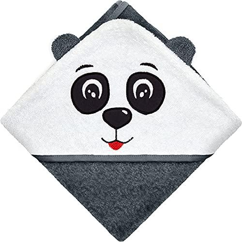 Hyggeglück® Kapuzenhandtuch für Babys & Kleinkinder, Motiv Panda | 100% Bio-Baumwolle | 75 x 75 cm | Stoffgewicht 380 g/m² | Handtuch/Badetuch mit Kapuze