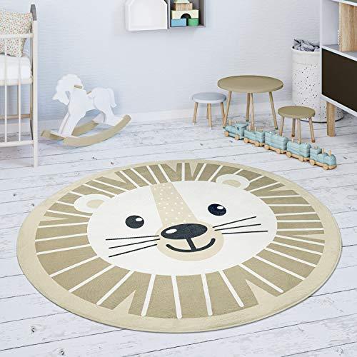 Paco Home Kinderteppich Teppich Rund Kinderzimmer Spielmatte Löwen Motiv Beige Weiß, Grösse:80 cm Rund
