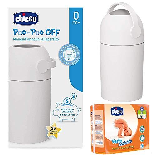 CHICCO Starter-Set ab Geburt: Windeleimer ODOUR OFF + CHICCO Windeln Mini Gr. 2 (3-6 kg) silber - geruchsdichtes System, herkömmliche Tüten verwendbar