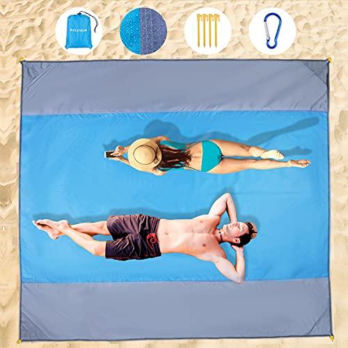 Wzlemom picknickdecke wasserdicht, 240x260cm Extra groß, Stranddecke Sandfrei, Strandmatte Mit 4 Ablageecken Stranddecke Wasserdicht, Campingdecke Ultraleicht kompakt für den Strandurlaub, Campen