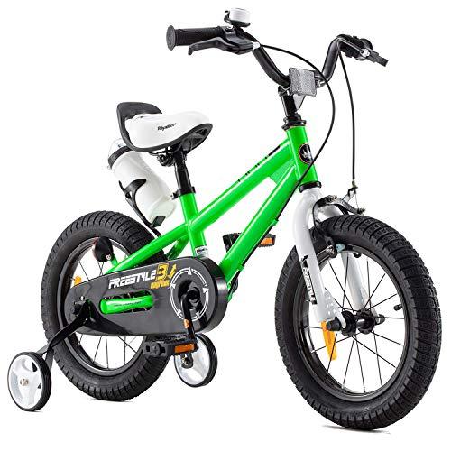 RoyalBaby Kinderfahrrad Jungen Mädchen Freestyle BMX Fahrrad Stützräder Laufrad Kinder Fahrrad 12 Zoll Grün
