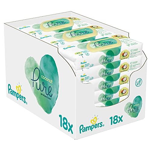 Pampers Coconut Pure Baby Feuchttücher, 756 Tücher (18 x 42) Mit Kokosnussöl Zur Reinigung Und Feuchtigkeitspflege, Baby Erstausstattung Für Neugeborene