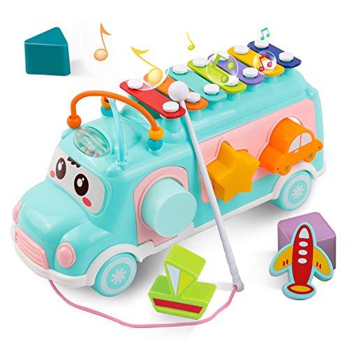 DeeXop Babyspielzeug 12-18 Monate+ Aktivität Würfel Spielzeug Bus enthält Xylophon, Form-Sortierer, ziehen entlang Spielzeug für 1 Jahr alt, Kleinkind Lernspielzeug für Musik, Form und Farbe