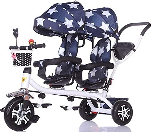 Baby-Kinderwagen Kinderwagen Doppeldreirad Zwillings-Baby-Fahrrad leichter Trolley großer Kinderwagen erweiterter Markise Aufbewahrungskorb Babywagen (Farbe: B)