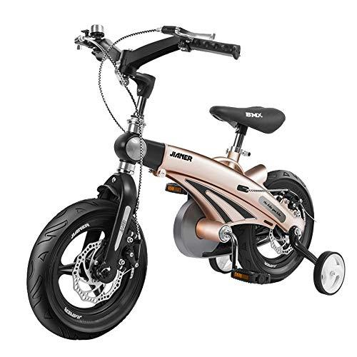 SENCILLON Kinderfahrrad 12/14/16 Zoll Kinderfahrrad Kinderfahrrad Doppelscheibenbremse Mountainbike mit Stützrädern für Jungen und Mädchen (Champagner, 14 Zoll)