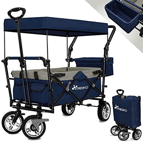 TRESKO Bollerwagen faltbar mit Dach | Handwagen mit 3-Punkt Gurtsystem | Gartenwagen klappbar | Transportwagen mit Vollgummi-Reifen + Bremse + Tragetasche (Blau)
