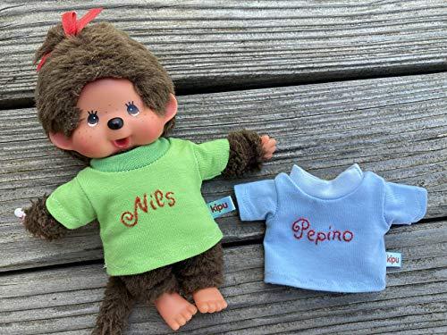 Puppenkleidung handmade für MONCHICHI Gr. 20 cm Bekleidung T-Shirt mit NAME bestickt Kleidung Puppenkleidung auch für Bären NEU