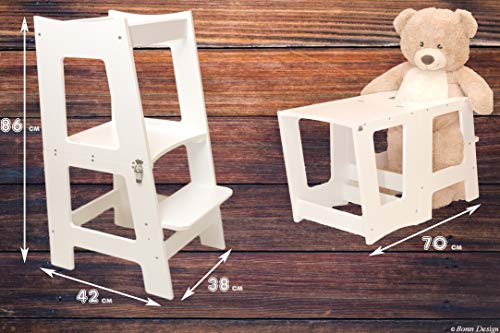 2in1 Montessori Lernturm für Kinder Learning Tower Multifunktion Hochstuhl Tritthocker Stuhl + Tisch aus Holz Hocker für Jungen & Mädchen Helferturm Lernstuhl Küchenhelfer Küche Bad Schemel Weiß
