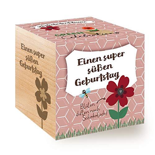 Feel Green 296619 Celebrations Ecocube, Schokoladenblume, Holzwürfel Mit Lasergravur «Einen Super Süßen Geburtstag», Nachhaltige Geschenkidee, Anzuchtset, Made in Austria