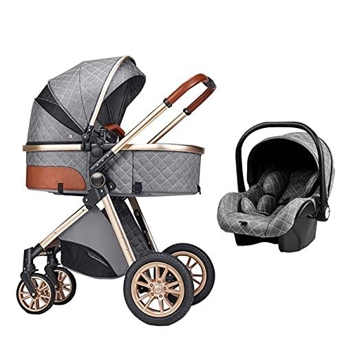 XYSQ 3 In 1 Kinderwagenwagen, Faltbarer Luxus-Kinderwagen, Reversibel Und Reklinbar, Anti-Shock Springs-Hochansicht-Pram-Kinderwagen Mit Babykorb (Color : Gray)
