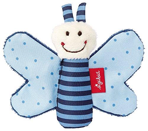 SIGIKID 41180 Greifling Schmetterling Red Stars Mädchen und Jungen Babyspielzeug empfohlen ab Geburt blau
