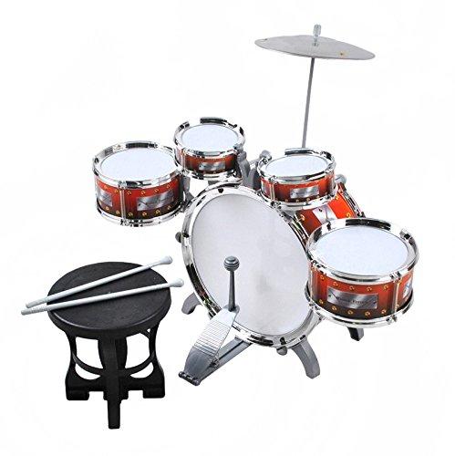 ISO TRADE Schlagzeug für Kinder XL Bass 4 Trommeln Becken Hocker Drumsticks Drum-Set 1551