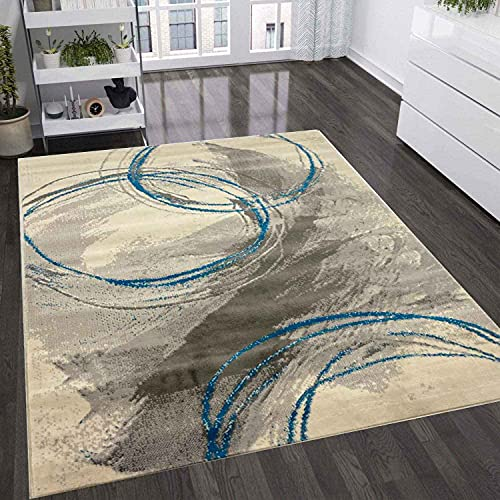 VIMODA Teppich Wohnzimmer Schlafzimmer Flur Teppich Kreisel Muster Blau, Maße:160x220 cm