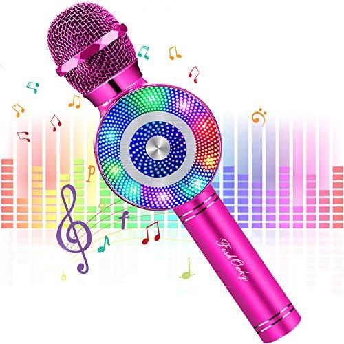 FISHOAKY Karaoke Mikrofon, 4 in 1 Bluetooth Mikrofon Karaoke Tragbarer Drahtlose Mikrofon Stereo Player mit Dynamisches Licht, Kompatibel mit Android IOS