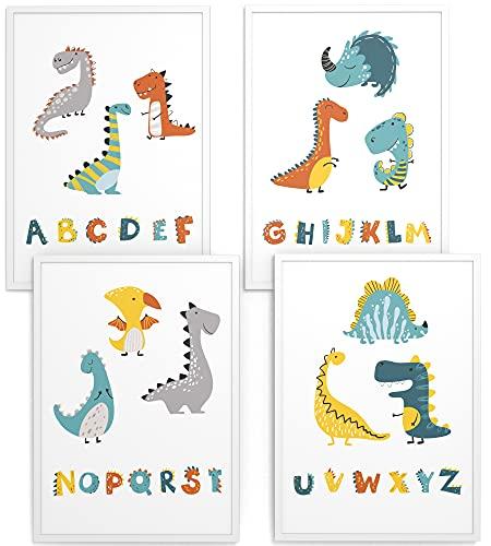 Papierschmiede Kinderbilder 4er-Set | A3 gerahmt in Holzrahmen (weiß) | Geschenk für Jungen Wanddeko Kinderzimmer Babyzimmer | Dinosaurier Alphabet | Dino ABC