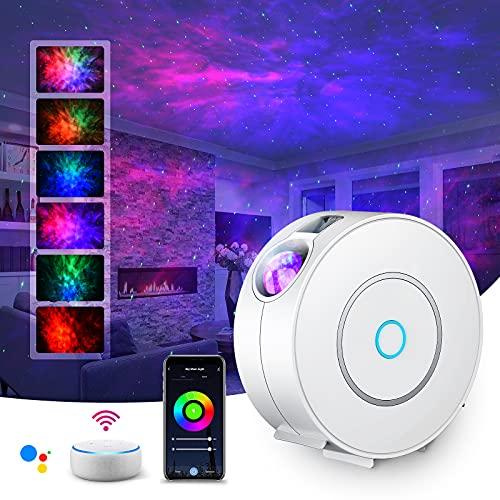 LED Alexa Sternenhimmel Projektor,SUPPOU Smart Nachtlicht 3D Galaxy Sternenprojektor Lampe Kinder Erwachsense mit RGB Dimming/Stimmenkontrolle/WiFi Verbindung/Kompatibel Alexa Google Assistant