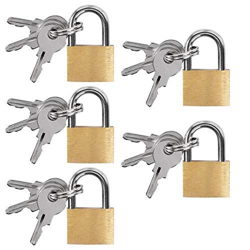 UCEC 5x Mini Vorhängeschlösser mit Schlüssel, Gepäck-Vorhängeschloss, Kleines Kofferschloss für Gepäck, Reisetaschen, Koffer, Ketten