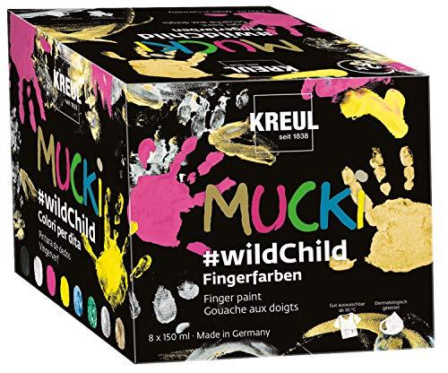 Kreul 2300 - Mucki leuchtkräftige Fingerfarben Premium Set 'Wild Child', auf Wasserbasis, für Kinder ab zwei Jahren, 8 x 150 ml Farbe in Gelb, Pink, Blau, Grün, Weiß, Schwarz, Silber und Gold