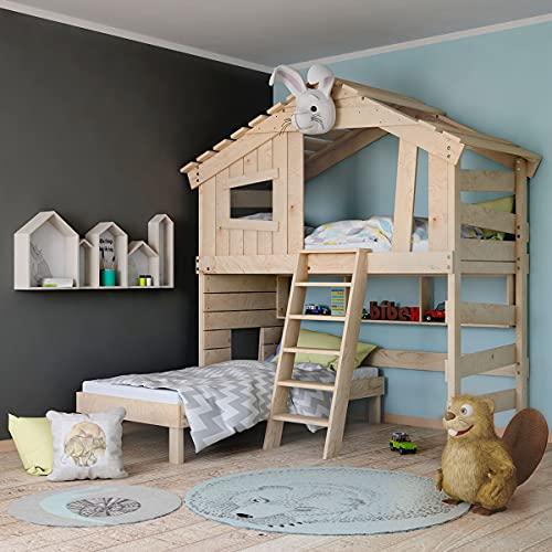 Alpin Chalet, Hochbett für Kinder, Doppelbett, Hausbett, Massivholz Naturbelassen 100% Bio (Zubehör optional, mit Unterregal (viereckig))