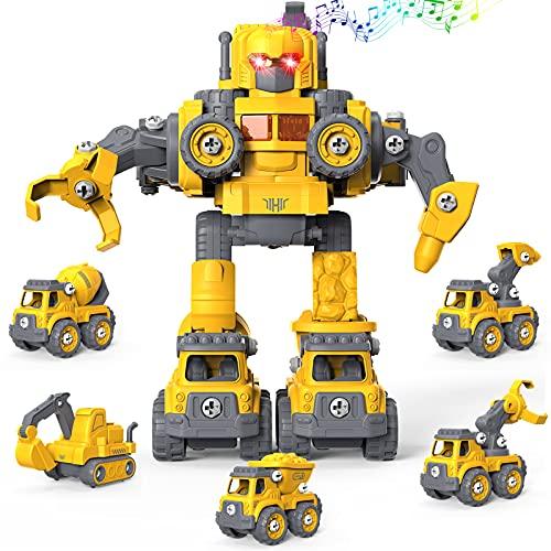 GizmoVine Bagger Spielzeug, 5 in 1 BAU Spielzeug Sandkasten Sand Spielzeug Ingenieurbagger-Set, Demontage-Roboterspielzeug DIY Baufahrzeug Kinder-Lernspielzeug