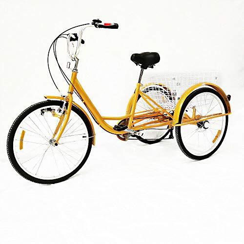Klassisch 24 zoll Erwachsene Dreirad 6 Gang 3 Räder Fahrrad ältere Menschen Freizeit Tricycle mit Licht und Einkaufskorb, Gelbes,Wheel Come with reflektierendem Streifen, für Eltern Geschenk