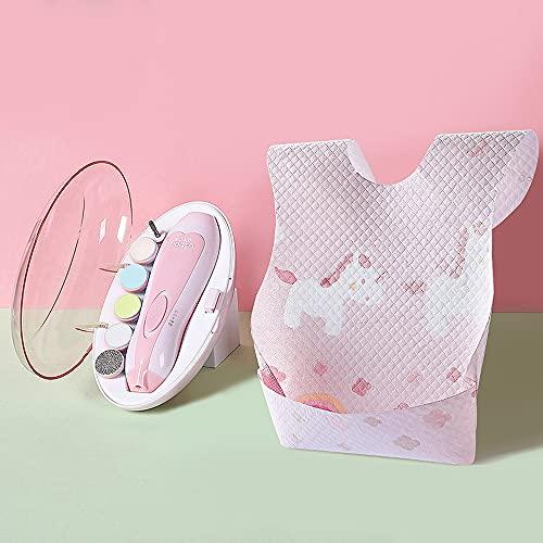 Elektrischer Baby Nagelfeile Baby Nagelknipser mit LED-Frontlicht Sicher und Leise Baby Nagelschneider mit 6 Schleifköpfen für Neugeborene Kleinkinder (Rosa + q-tips x 2)