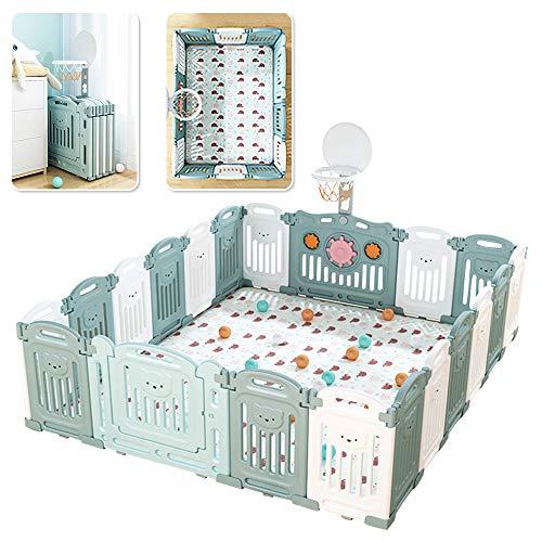 20 Stück faltbarer Laufgitter Baby Laufstall mit Tür und Spielzeugboard 225 * 188cm inkl. Matratze Laufgittereinlage aus Kunststoff Schutzgitter für Kinder