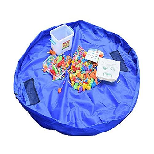 Tuofei Spielzeug Aufbewahrungsbeutel, Kordelzug Faltende Bewegliches Tragbare für Indoor Outdoor Spiel Matte (Ohne Spielzeug) (Blau, S)