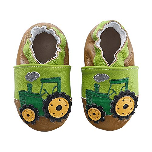 koshine Weiches Leder Krabbelschuhe Baby Schuhe Kinder Lauflernschuhe Hausschuhe 0-3 Jahre (12-18 Monate, Grün Traktor)