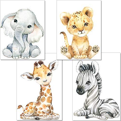 artpin® 4er Set Bilder Babyzimmer Deko Junge Mädchen - DIN A4 Poster Kinderzimmer Baby Dschungel Tiere - Safari Afrika Wandbilder - Elefant Tiger Giraffe Zebra P60