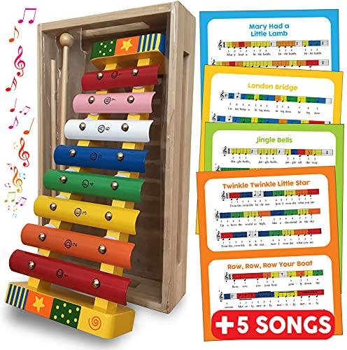 Xylophon mit farbigen Holzschlüsseln in Holzkiste