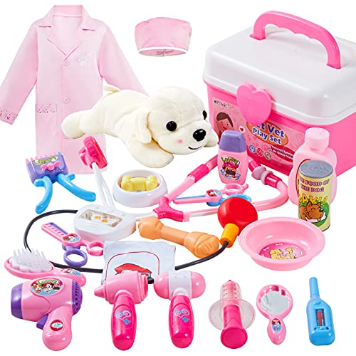 BUYGER 2 in 1 Tierarztkoffer für Kinder mit Hund, Arztkoffer Kinder Rollenspiel Spielzeug Tierarzt Spielset Hundesalon, Geschenk für Kinder ab 3+ Jahre