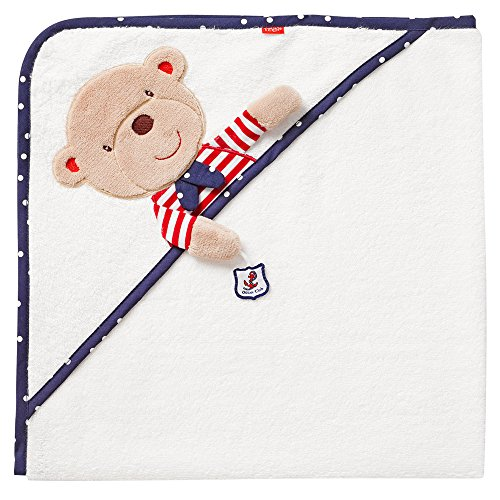 Fehn 078510 Kapuzenbadetuch Teddy – Bade-Poncho aus Baumwolle mit Teddy Motiv für Babys und Kleinkinder ab 0+ Monaten – Maße: 80x80cm