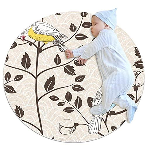rutschfeste Bodenmatten Krabbelmatten Kindergarten Kinderspielmatten Kinderteppich Spielmatten,Gelbe Vogelblätter