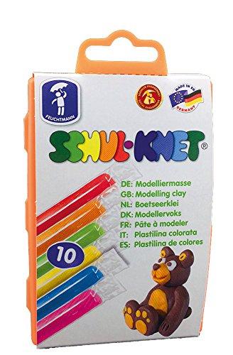 Feuchtmann 628.0106 - SCHUL-KNET, 10 bunte Stangen, formstabile Knete 3+, ca. 180 g, in wiederverwendbarer Vorratsdose, ideal als Geschenk für kreatives Spielen