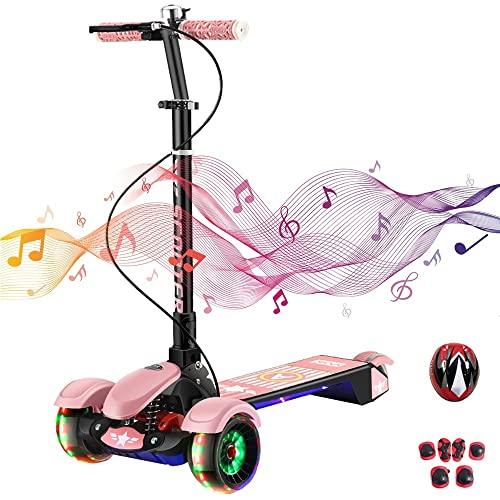 BCXRSE Kinder Roller Scooter Kinderroller Dreiradscooter für Mädchen und Jungen, Höhenverstellbarer, Faltbar Kinderscooter mit LED PU Räder, Kick Scooter für Kinder von 3-8-12-18 Jahren (Color : C)
