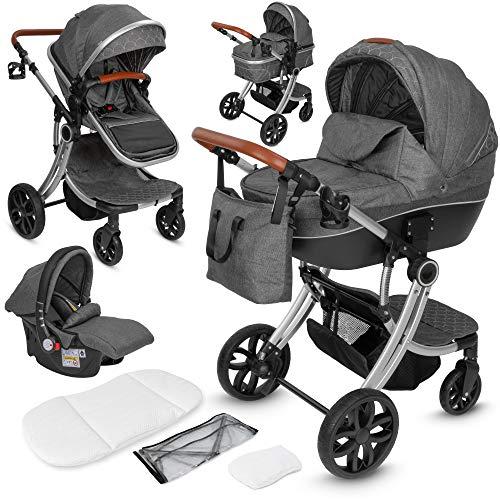 ib style® OLINA 3 in 1 Kinderwagen   Kombikinderwagen   inkl. Babyschale/Autositz   separater Buggy Aufsatz   ! Inkl. Matratze !   0-15kg   Grau