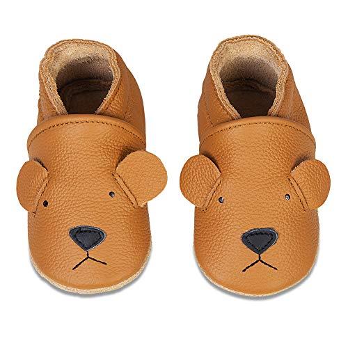 IceUnicorn Krabbelschuhe Jungen Mädchen Baby Lauflernschuhe Kleinkind Babyhausschuhe Leder Weicher (Kurkuma Bär, 12-18 Monate)