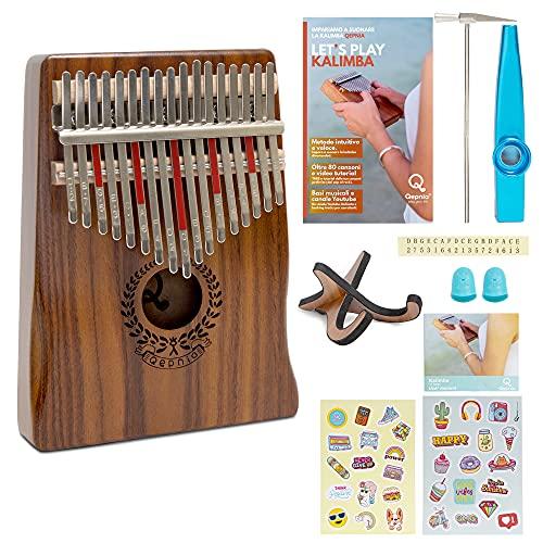 Qepnia Kalimba Professionelle 17 Tasten Musikinstrument aus Holz, tragbar, Daumen-Tastatur, süße Musik, Komplett-Set von Kazoo Stimmhammer, Tasche, Insektenschutz, Kalimba