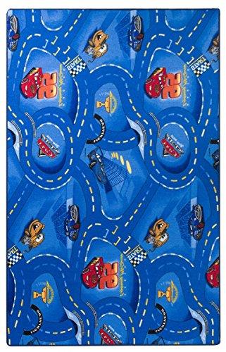 havatex Kinderteppich Cars - Farben: Rot, Blau, Grau | Spielteppich schadstoffgeprüft pflegeleicht strapazierfähig | Kinderzimmer Spielzimmer Zeichentrick Comic, Farbe:Blau, Größe:300 x 400 cm